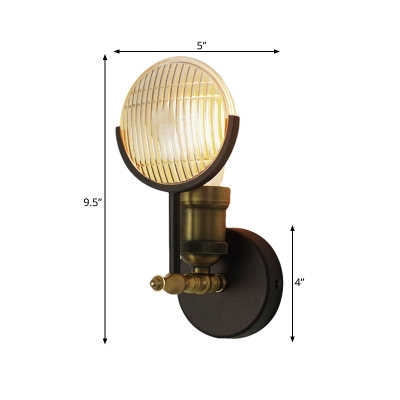 Prismatic Glass Black and Gold Sconce Light Fixture Round 1 Head Colonial Wall Mount Lamp for Indoor