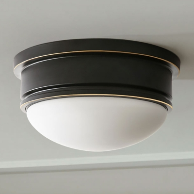 Round Flush Light Rustic 3 Heads White Glass Ceiling Mounted Fixture with Black Metal Canopy
