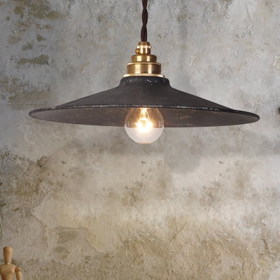 Rustic Style Flared Pendant Lamp Wrought Iron 1 Head Restaurant Ceiling Lighting in Antique Black, HL571747