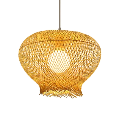 Single Light Dome Hanging Ceiling Light Bamboo Woven Dining Room Ceiling Pendant in Beige