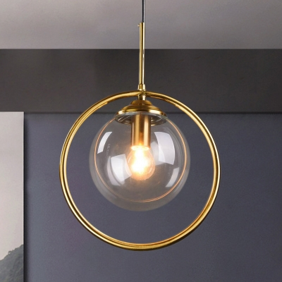 Sphere Hanging Light Kit Postmodern Smoke Gray/Clear Glass 1 Head Bedroom Pendant Light Fixture