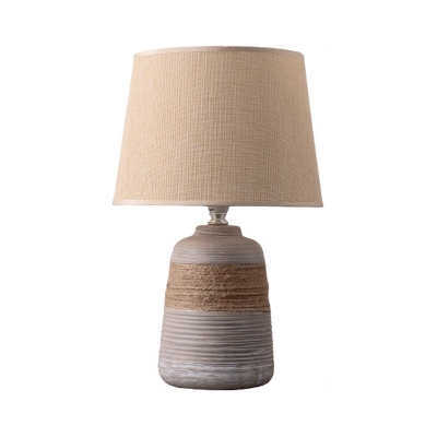 1-Light Drum Shape Nightstand Lamp Traditional Flaxen/Grey Fabric Desk Light with Trapezoid/Oval/Globe Ceramic Base