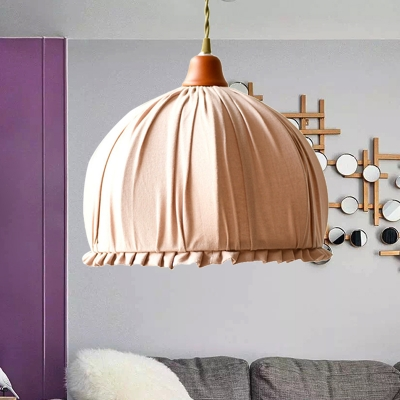 1 Light Fabric Hanging Pendant Classic Pink/Orange Dome Shaped Ceiling Suspension Lamp