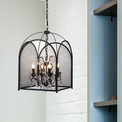 4 Lights Candle Hanging Pendant Light Rustic Black Metal Chandelier Lamp for Living Room with Crystal Deco