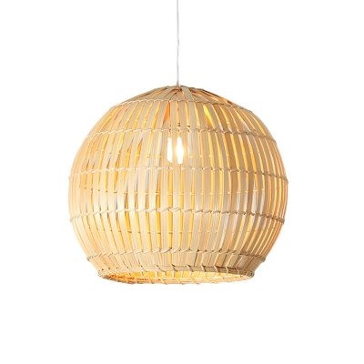 Bamboo Pendant Light with Orb Shade 1 Light Asian Modern Drop Ceiling Light in Wood, 12