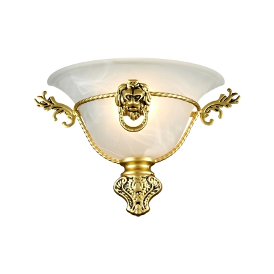 Colony Bell Sconce Milky Glass 1 Bulb Wall Mounted Light Fixture with Copper/Brass Metal Lion