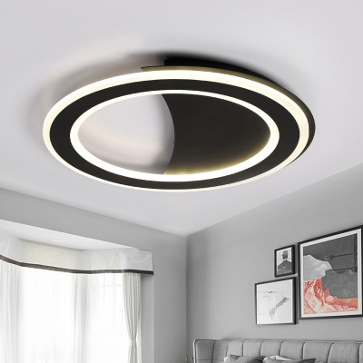 Contemporary LED Flush Light with Metal Frame Black/White Halo Ring Ceiling Lamp in Warm/White Light/Third Gear