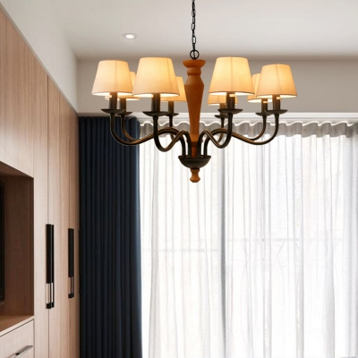 Green/Beige 3/8 Lights Chandelier Light Fixture Country Fabric Drum Pendant Lamp for Dining Room