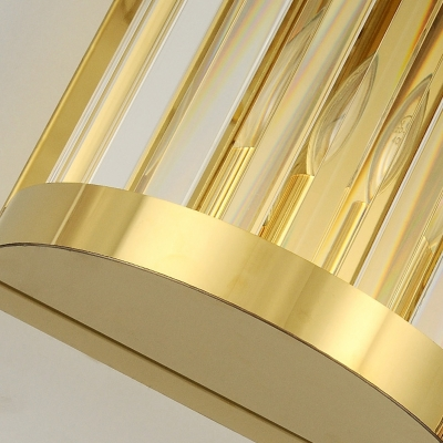 Half Cylinder Wall Mount Lighting Modern 2 Lights Gold Wall Light Fixture Clear Crystal Shade