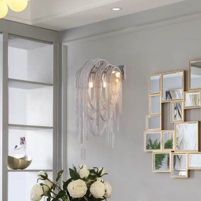 2 Lights Bedroom Wall Mount Light Postmodern Chrome Sconce Light with Draped Metal Chain Shade