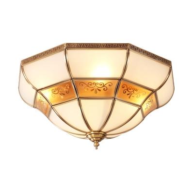 3-Light Opal Glass Flush Light Colonialist Brass Flared Bedroom Close to Ceiling Lighting
