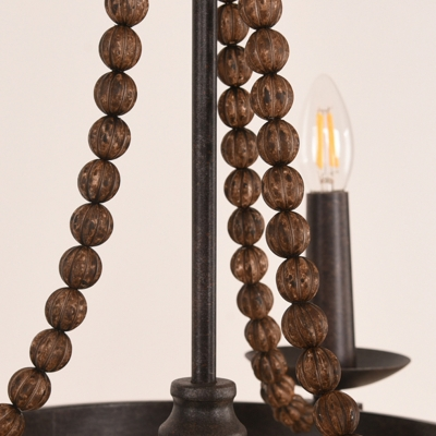 3 Lights Candle Style Pendant Lighting Rustic Dark Wood Metal Chandelier for Dining Room