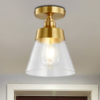 Conic Corridor Ceiling Light Fixture Clear Glass 1 Bulb Industrial Style Semi Flush Mount Light in Brass Finish, HL571516