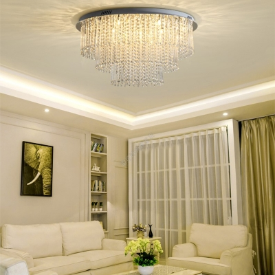 Crystal Strand 3 Tiers Ceiling Light Contemporary 12 Heads Nickel Flush Mount Mount Light
