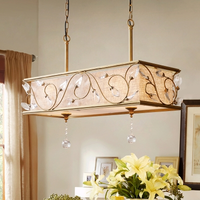 Cuboid Flax Island Pendant Vintage 8-Light Ceiling Lamp in Gold with Crystal Accent