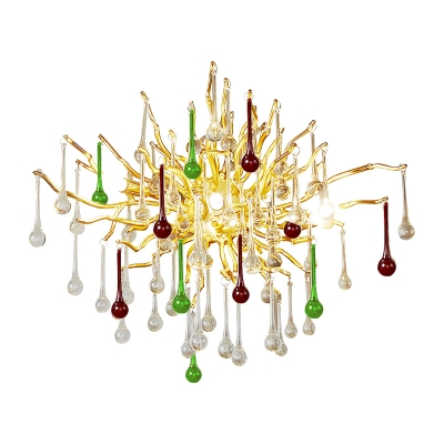 Gold Starburst Sconce Light Art Deco 3 Heads Clear/Smoke Gray/Multicolor Waterdrop Crystal Wall Mount Light