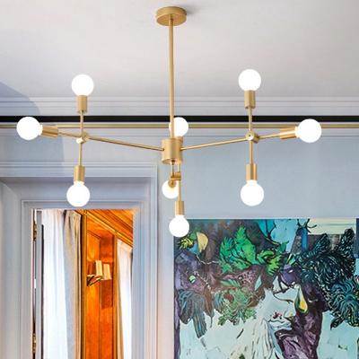 Modernism Burst Chandelier Lighting Metal Large Pendant Lighting in Black/Gold