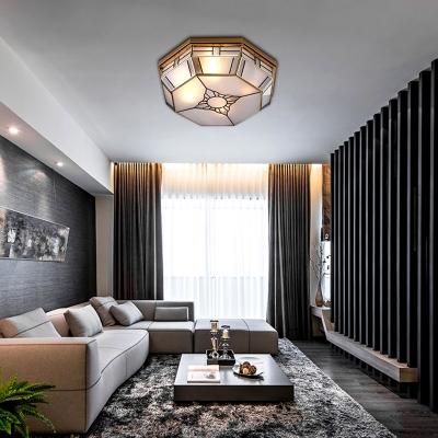 Octagonal Bedroom Flush Mount Light Colonial Blown Opal Glass 3 Bulbs Brass Close to Ceiling Lamp