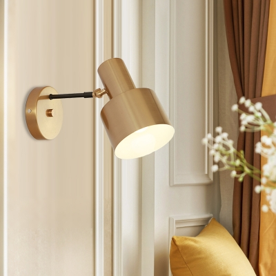 Round Iron Wall Lamp Modernist 1 Bulb Gold Finish Wall Sconce Light with Swivel Arm