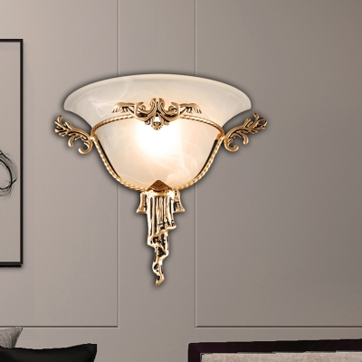 Trumpet Flare Sconce Light Colonization Milk Glass 1 Bulb Wall Mounted Lamp with Copper/Brass Carved Metal Deco