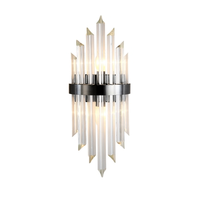 2 Heads Living Room Wall Mounted Light Postmodern Black Sconce Light with Half-Cylinder Crystal Block Shade
