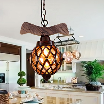 Amber Glass Ball Pendant Lamp with Wooden Base 1 Light Country Ceiling Hanging Light in Copper, HL564412