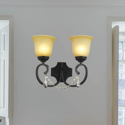 Amber Glass Black Sconce Light Fixture Bell 2-Light Rustic Wall Mounted Lighting for Corridor