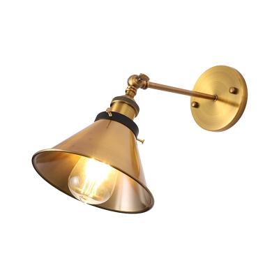 Barn/Cone Shade Corridor Wall Lighting Metallic 1 Bulb Vintage Stylish Angel Adjustable Wall Sconce Lamp in Brass