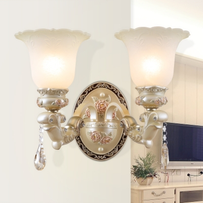 Beige Glass Floral Shape Wall Mounted Light Traditional 1/2 Lights Living Room Sconce Ligh
