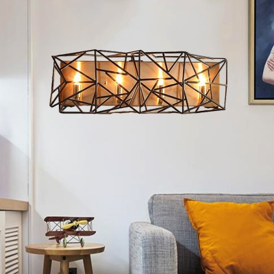 Black 4-Light Wall Lighting Fixture Country Metal Caged Sconce for Living Room