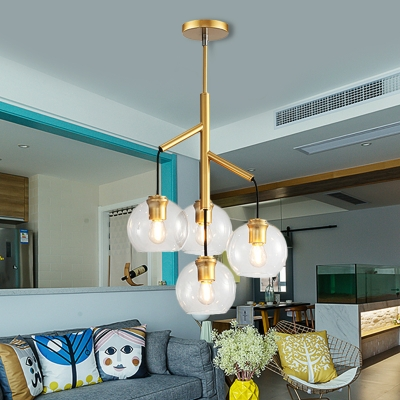 Gold 4 Heads Chandelier Colonial Hand Blown Clear Glass Spherical Ceiling Pendant