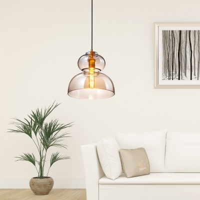 Nordic Hourglass Hanging Lamp Blue/Cognac Glass 1 Head 8.5