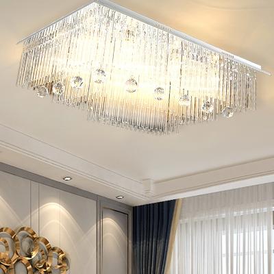 Rectangular Flush Mount Lighting Modern Crystal Rod Led Dining Room Ceiling Light Fixture In Nickel Beautifulhalo Com