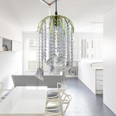 Tropical 1 Light Crystal Pendant Light Fixture Golden Cascade Ceiling Suspension Lamp