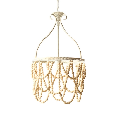 1 Bulb Wooden Pendulum Pendant Country Style White Beaded Ceiling Lamp with Iron Bellied Vase Hanging Frame