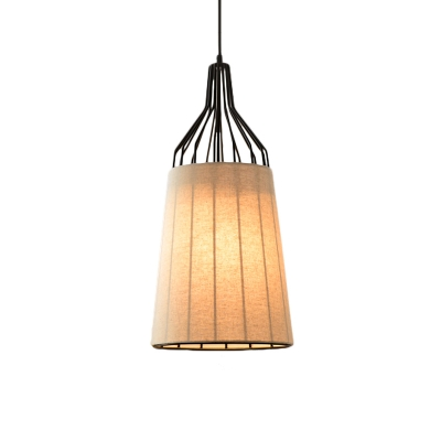 3 Lights Cone Pendant Light Kit Rustic Black/Coffee/Beige Fabric Chandelier Lamp for Dining Room,11