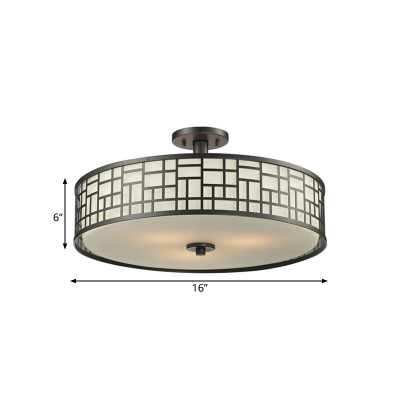 4/3 Lights Circular Semi Flush Mount 16