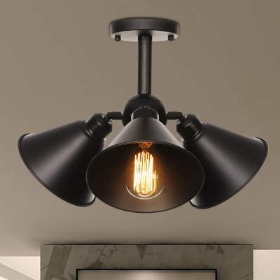 Black Cone/Saucer Ceiling Mounted Fixture Industrial Style Metal 3 Heads Black Semi Flush Light Fixture, HL571742
