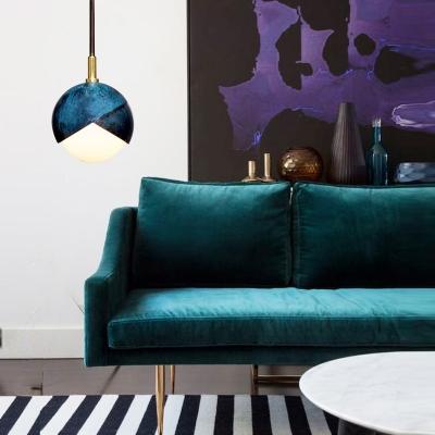 Blue Semi Sphere Hanging Ceiling Light Postmodern 1 Head 5.5