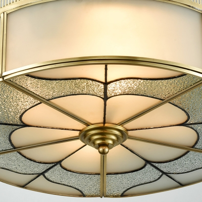 Brass 3 Lights Flush Mount Fixture Colonialism Curved Frosted Glass Drum Ceiling Mounted Light for Bedroom