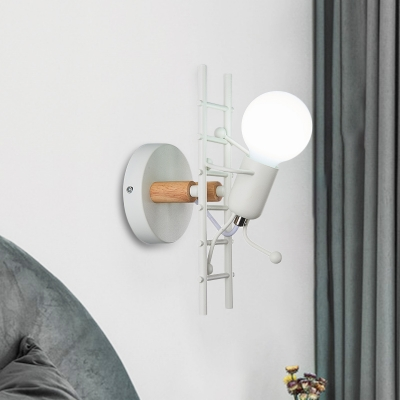 Cartoon Bare Bulb Wall Light Fixture Metal Gray/White/Green 1 Head Indoor Wall Mount Light with Little People Decoration