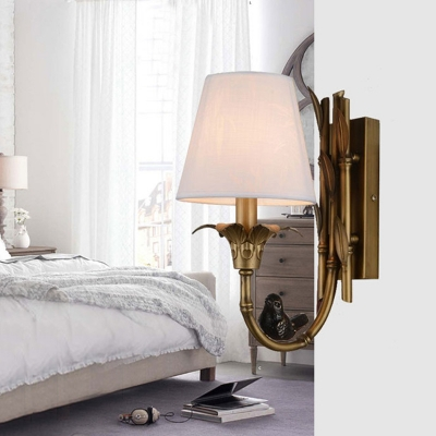 Country Candle Style Sconce Light Fixture 1 Bulb Metal Wall Mount Lighting in Brass for Bedroom