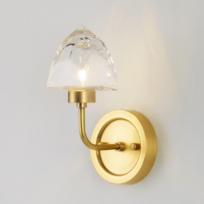 Crystal Ice-Shaped Wall Sconce Light Postmodern 1 Light Gold Wall Mounted Lighting