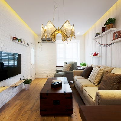 Flaky Cluster Ceiling Light Modern Metallic 6 Lights Golden Pendant Lamp with Crystal Accents