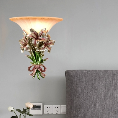 Floral Resin Wall Sconce Retro 1 Light Pink/Gold Wall Mounted Lamp with Trumpet Glass Shade