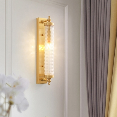 Gold Finish Cylinder Wall Mounted Lamp Modern 1 Light Clear Crystal Wall Lighting for Living Room