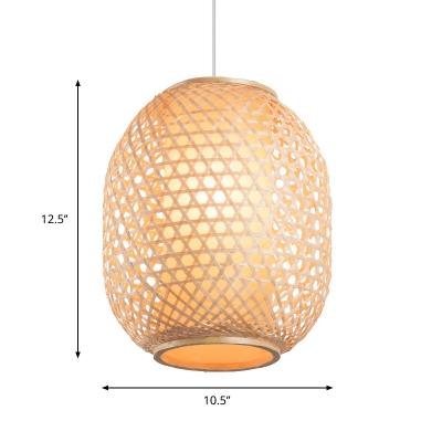Handwoven Lantern Pendant Lamp Bamboo Asian Hanging Light Fixture with Fabric Shade