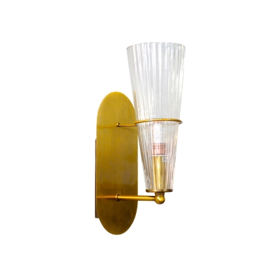 Indoor Cone Wall Lighting Clear Ribbed Glass Single Light Mid Century Modern Sconce Lighting in Brass