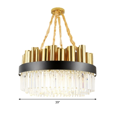 Metal Drum Chandelier Modern Hanging Chandelier with Clear Crystal Decoration in Gold