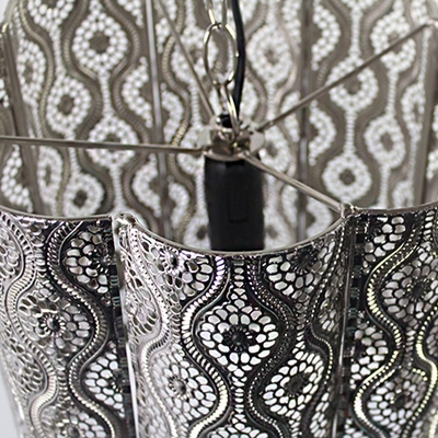 Metal Etched Hanging Pendant with Cylinder Shade Industrial 1 Light Hanging Light Lamp in Chrome